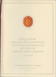 Cover for Investidura com a doctor honoris causa de l'Excm. Sr. Antoni M. Badia i Margarit